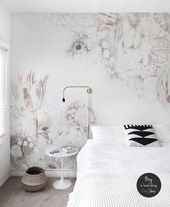 White Vintage Floral Art Removable Wallpaper Removable Etsy Removable Wallpaper White Interior Design Interior