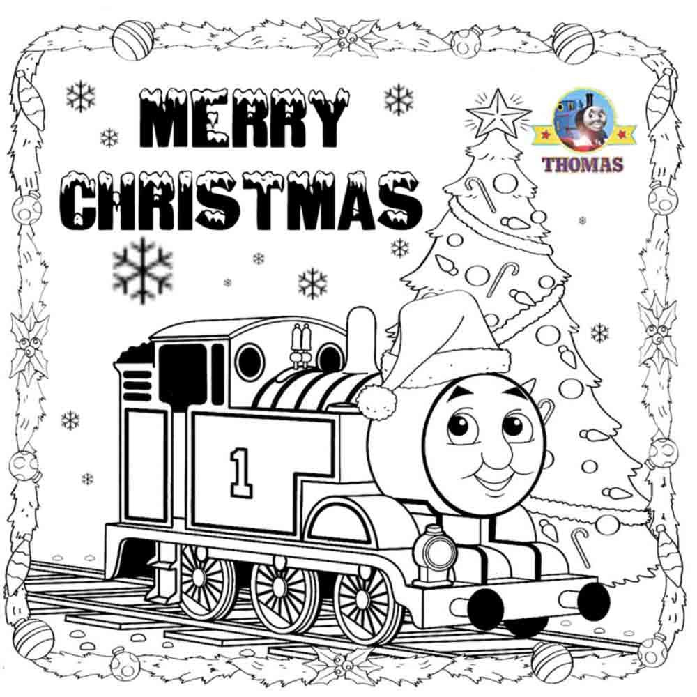 kids+printable+Thomas+pictures+Santa+hat+merry+Christmas+coloring+ ...