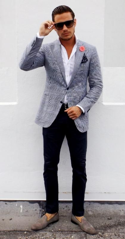 Men's Grey Plaid Blazer, White Dress Shirt, Black Chinos, Grey ...
