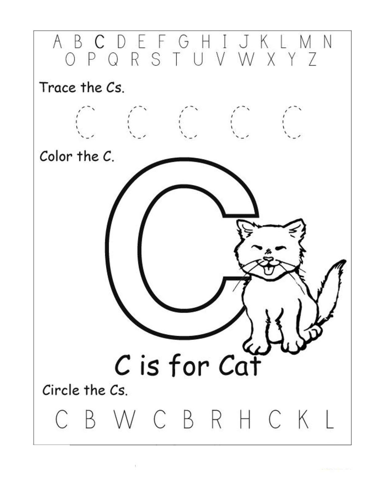 Letter C Worksheets For Educations Letter C Worksheets
