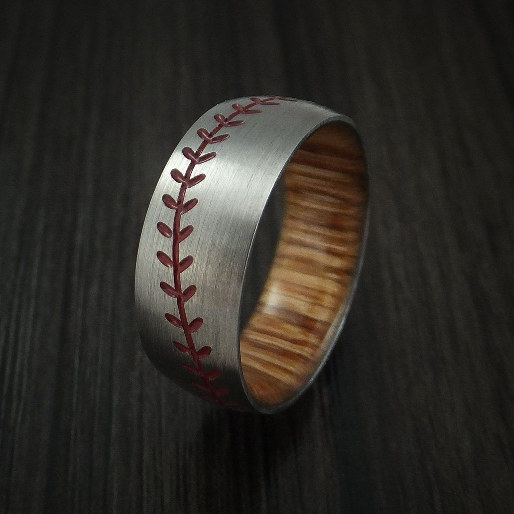 Titanium Baseball Ring with Red Stitching and Wood Sleeve
