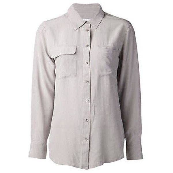 9186f289d86fa Pre-Owned Equipment Femme Light Gray Purple Signature Washed Silk... ( 74