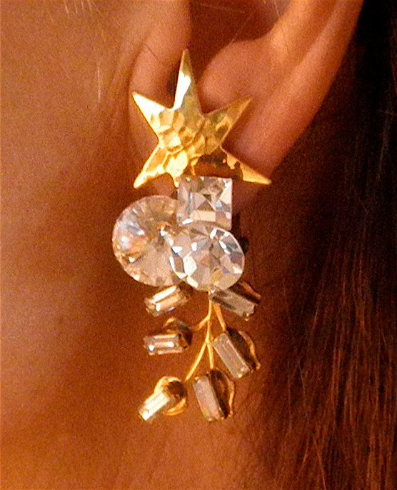 Spectacular Star and Crystal  Earrings Signed by Wendy by outreart