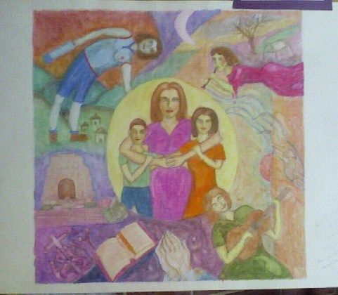 My Life is Beautiful, aquarelle pencil on paper. In the style of Marc Chagall