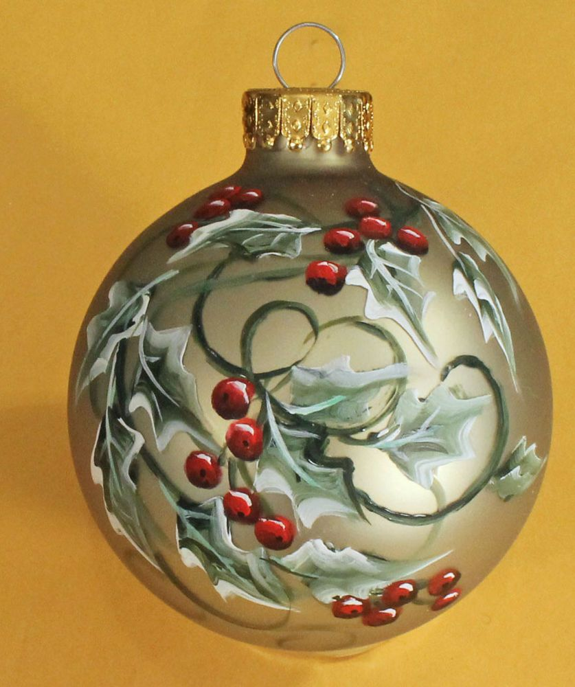 Green Holly Glass Christmas Ornament Hand Painted And