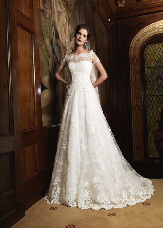 Off Shoulder Lace Applique Wedding Dress with Short Sleeves One