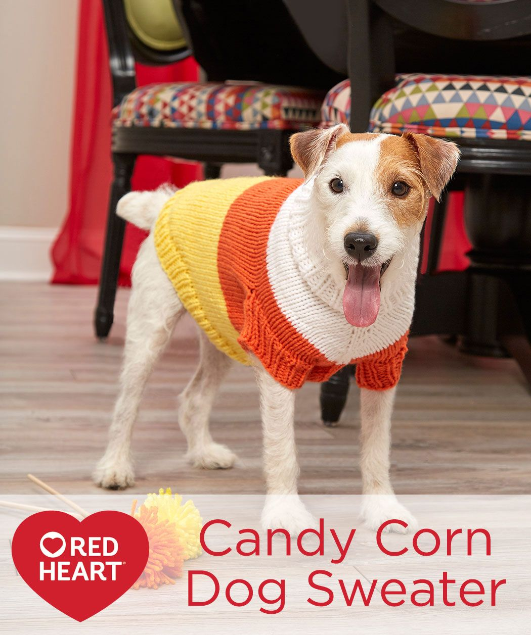 Candy corn dog sweater free knitting pattern in red heart yarns candy corn dog sweater free knitting pattern in red heart yarns include your furry bankloansurffo Gallery