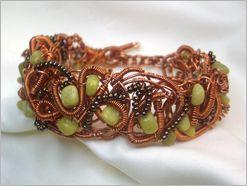 Idaeus Designs-copper, jade & seed bead wire woven bracelet