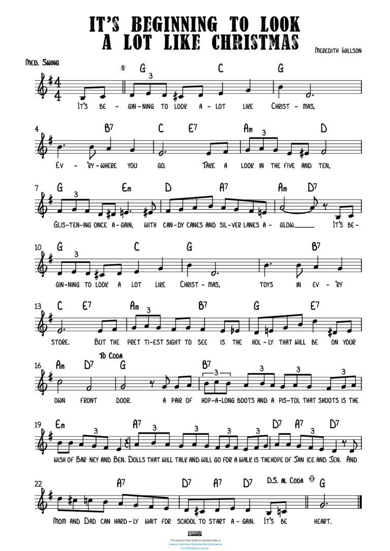 Sheet Music by Paul Gladis » It's Beginning to Look A Lot