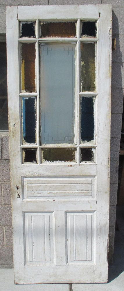 Antique American Stained And Etched Glass Door 32 X 89