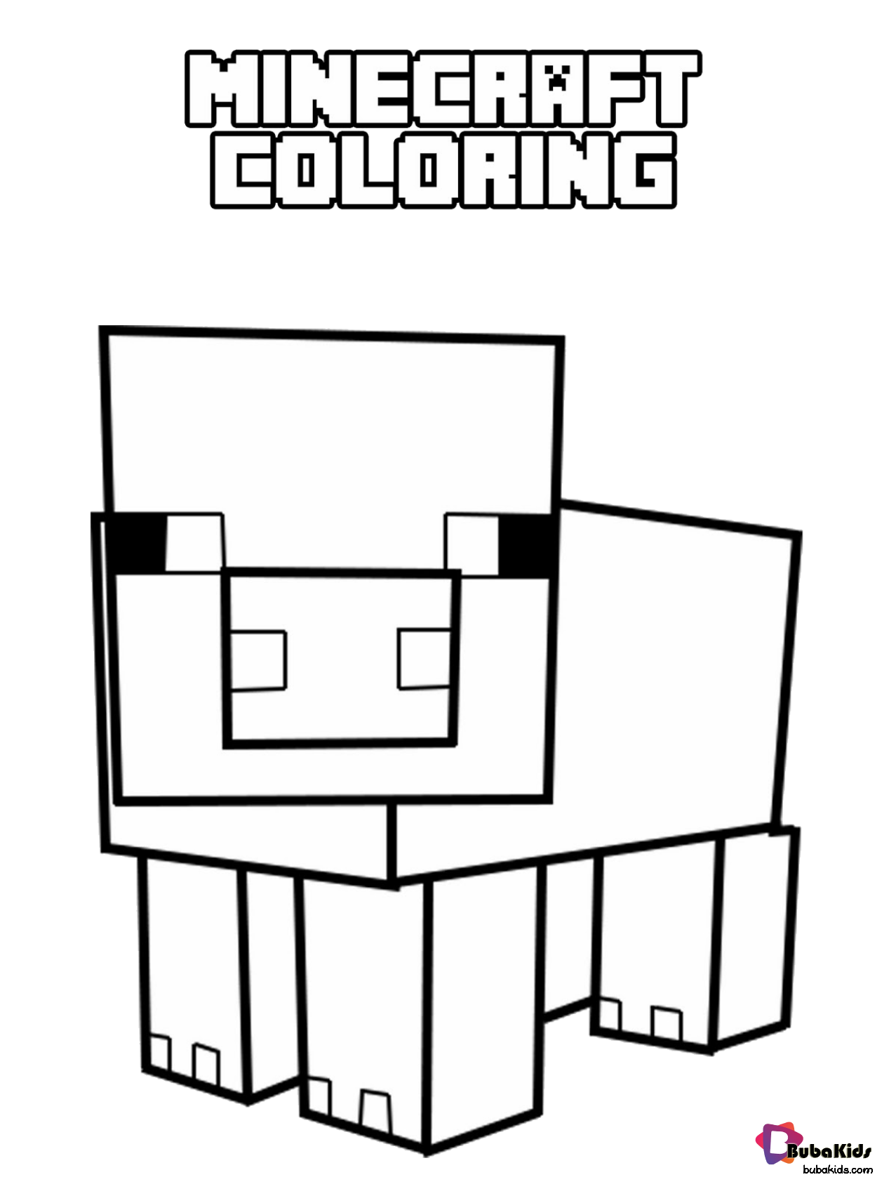 minecraft pig animal coloring page