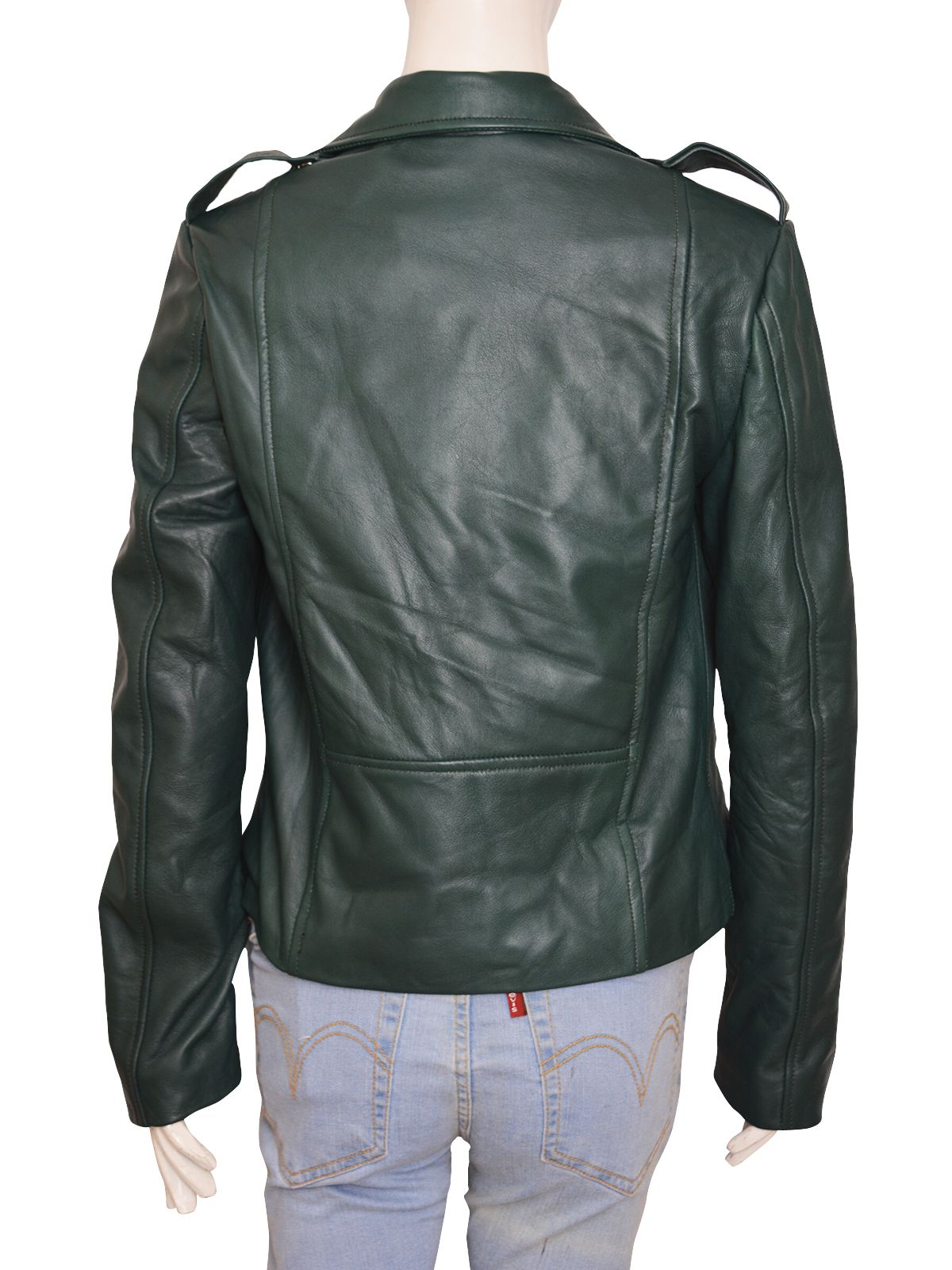 Pine Green Super Cool Leather Jacket Women Jackets
