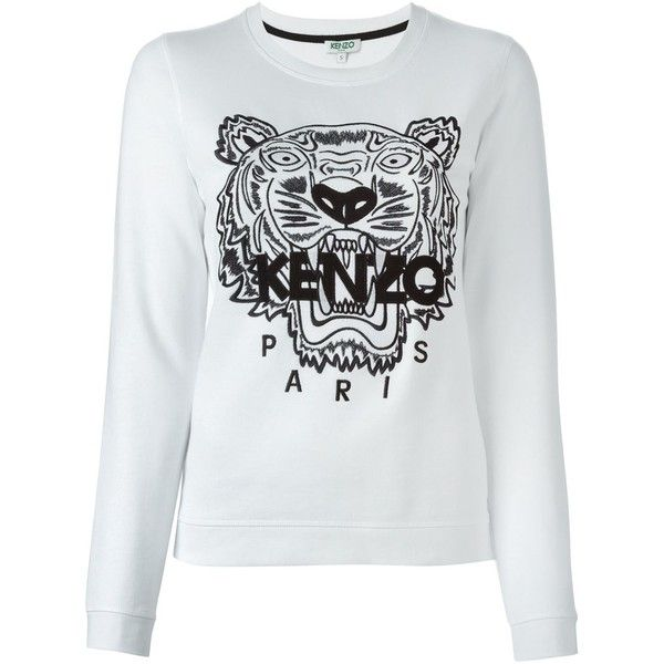 b45813f96 Kenzo Vitkac Exclusive Tiger Sweatshirt (260 CAD) ❤ liked on Polyvore  featuring tops, hoodies, sweatshirts, white, kenzo sweatshirt, sweatshirts  hoodies, ...