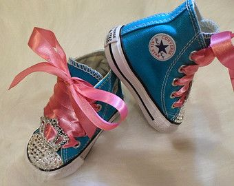07b8240d2f56 Baby infant Converse 5 Swarovski Crystals Bling SHOES All Star ...