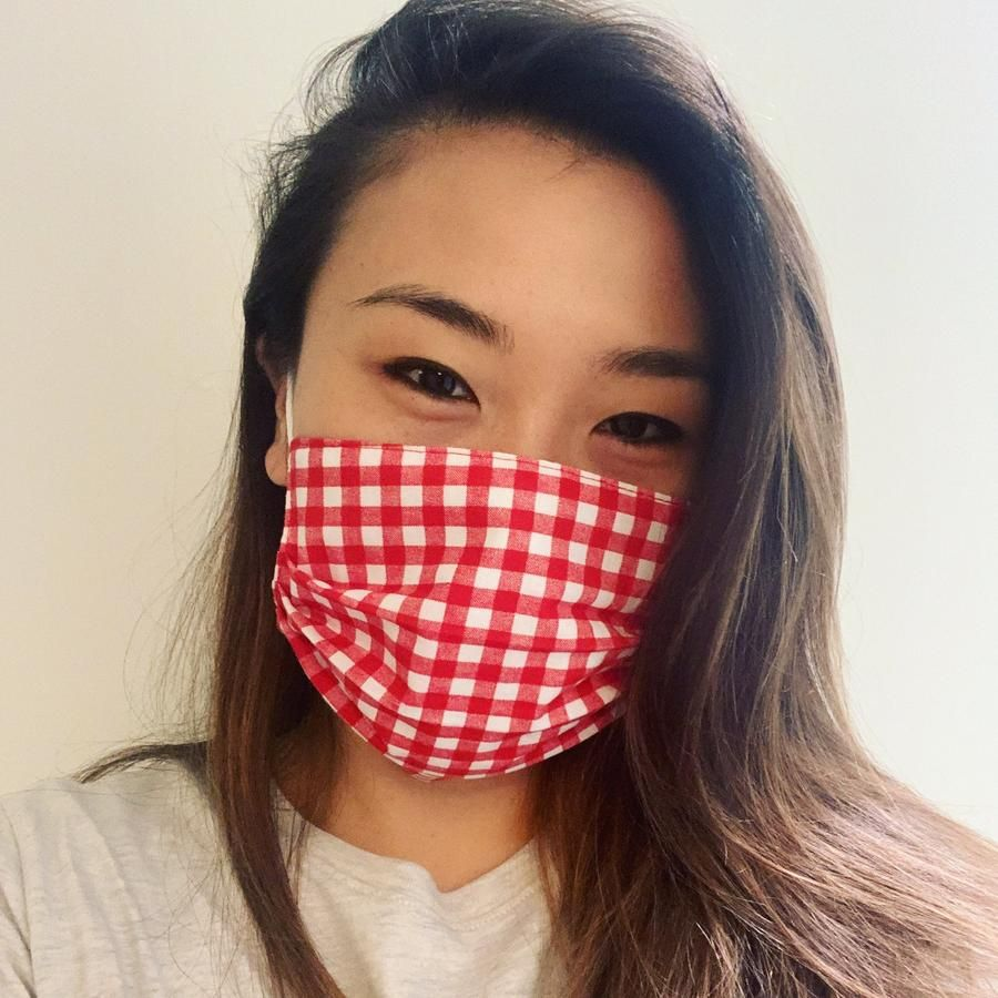 Red Gingham Face Mask LA Face Masks in 2020 Red