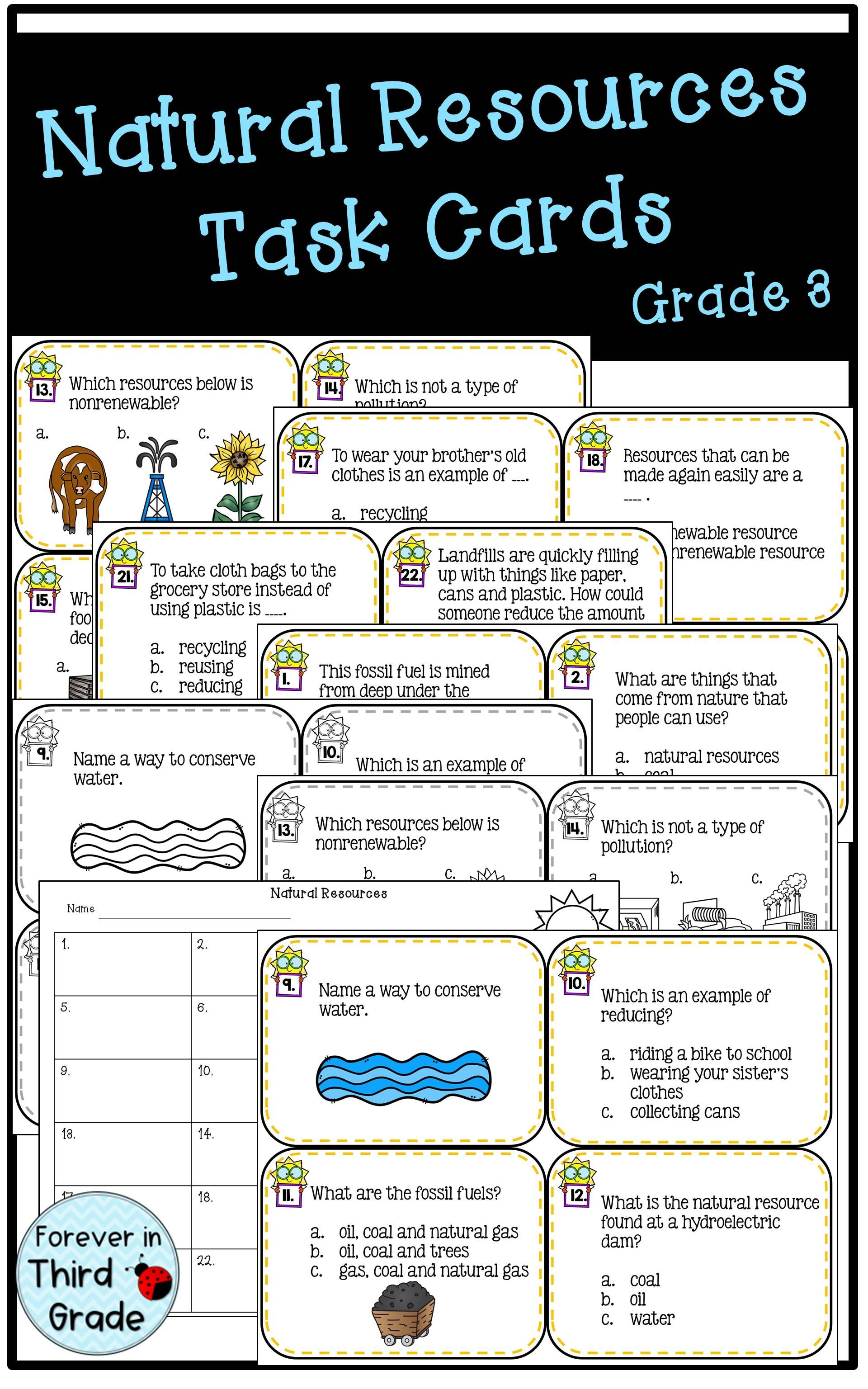 Natural Resources Task Cards Are Great As A Review Activity Nonren Kindergarten Worksheets Nonrenewable Resources Activities Kindergarten Worksheets Printable