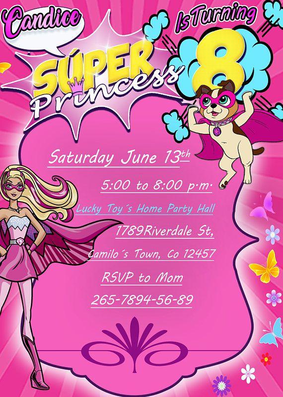 Invitación Digital Para Cumpleaños De Barbie Super Princesa