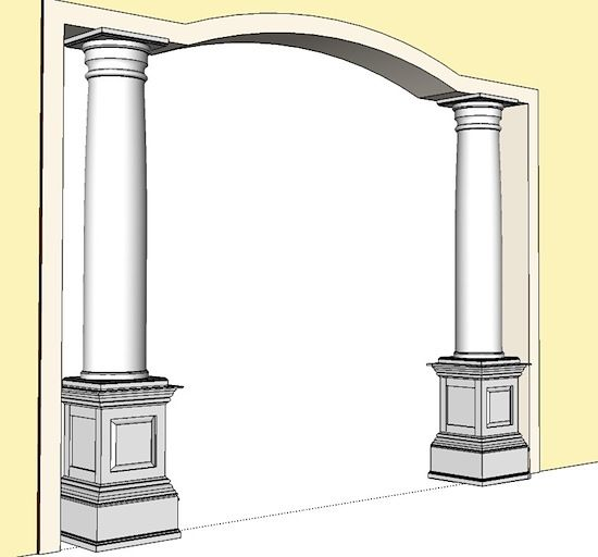 Indoor columns pedestals shake or raised panel for Columns interior