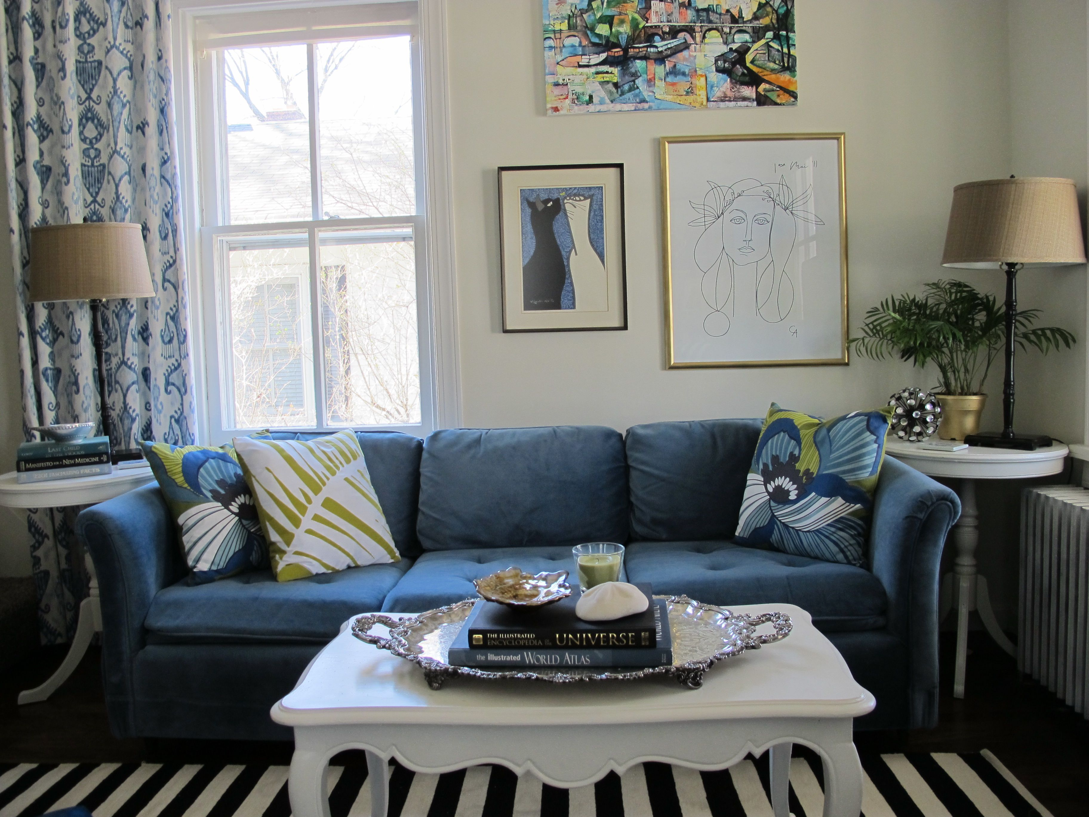 Astounding Dark Blue Bridgewater Couch And White Wooden Coffee Table On Black White Carpet As