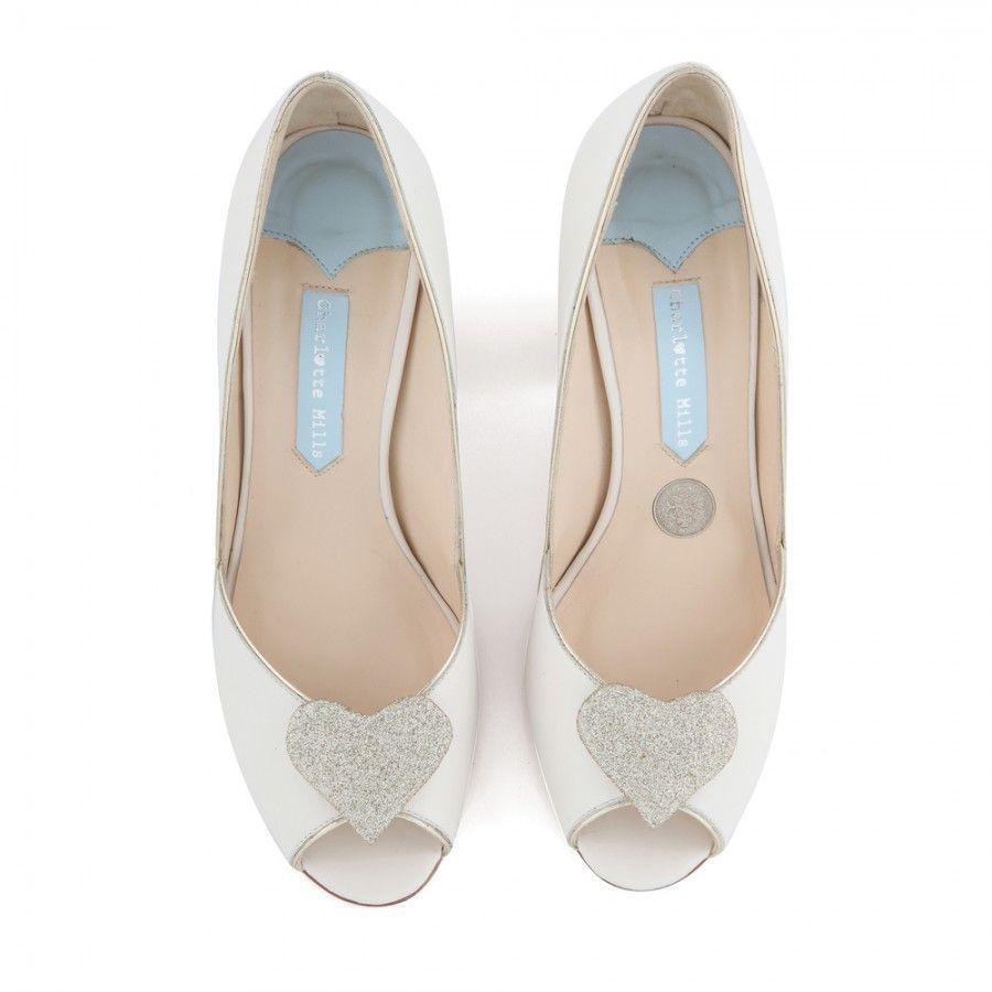 Zapatos de Novia Peep Toe modelo Andi Silver de Charlotte Mills ➡️ #LosZapatosdetuBoda #Boda