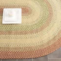Hand Woven Reversible Rust Ivory Braided Rug 6 X 9 Oval