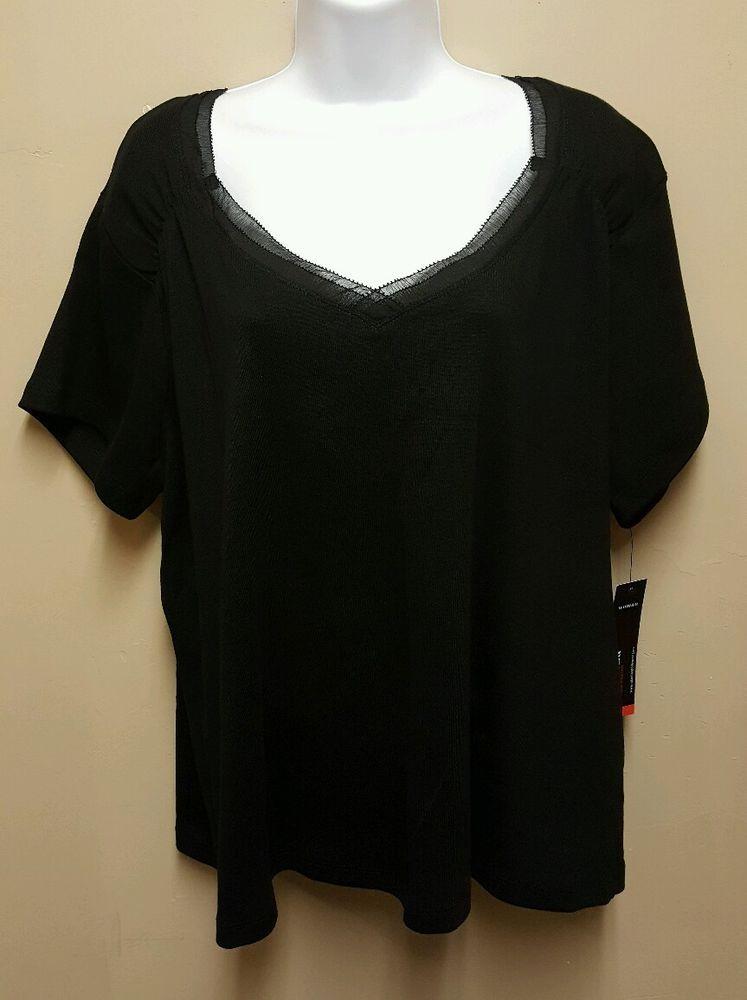 NWT Rafaella 3X Black Shirt Knit Top Blouse V Neck 100% Cotton short sleeves #Rafaella #KnitTop #Casual