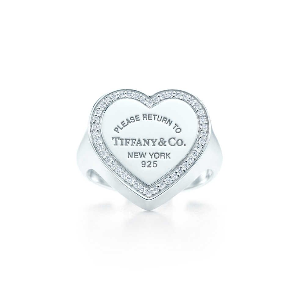 Return To Tiffany Heart Signet Ring In Sterling Silver With Diamonds Large