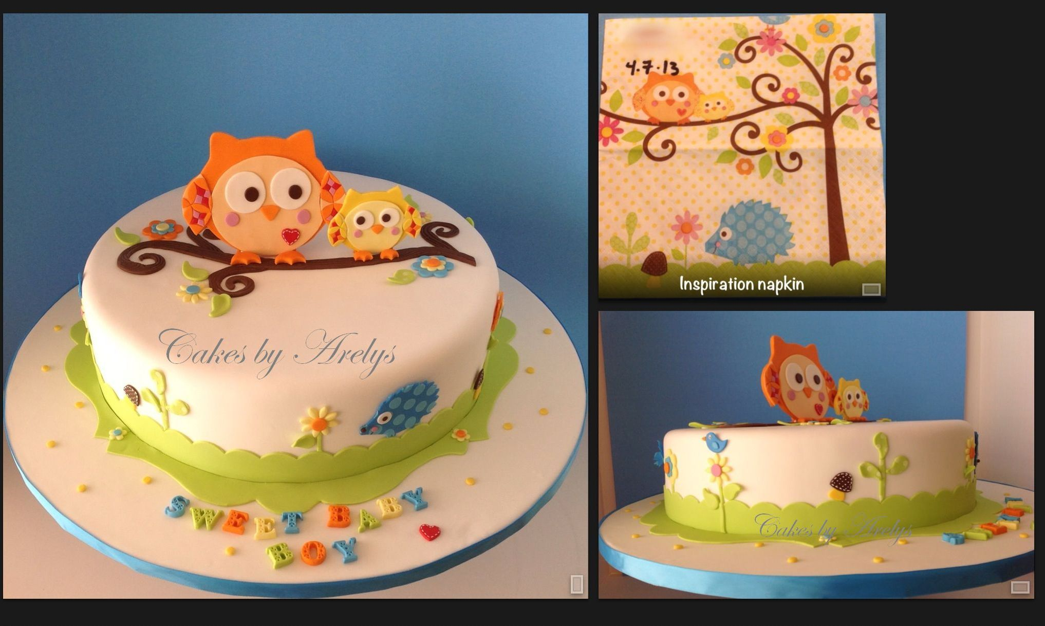 Sweet Baby Shower Owl theme cake Vanilla bean cake covered in