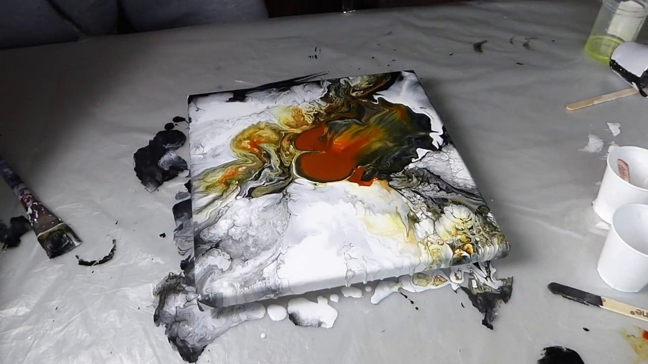 Youtube Video Wischtechnik The Beautiful Effects Of Golden Paint And A Blow Dryer 1
