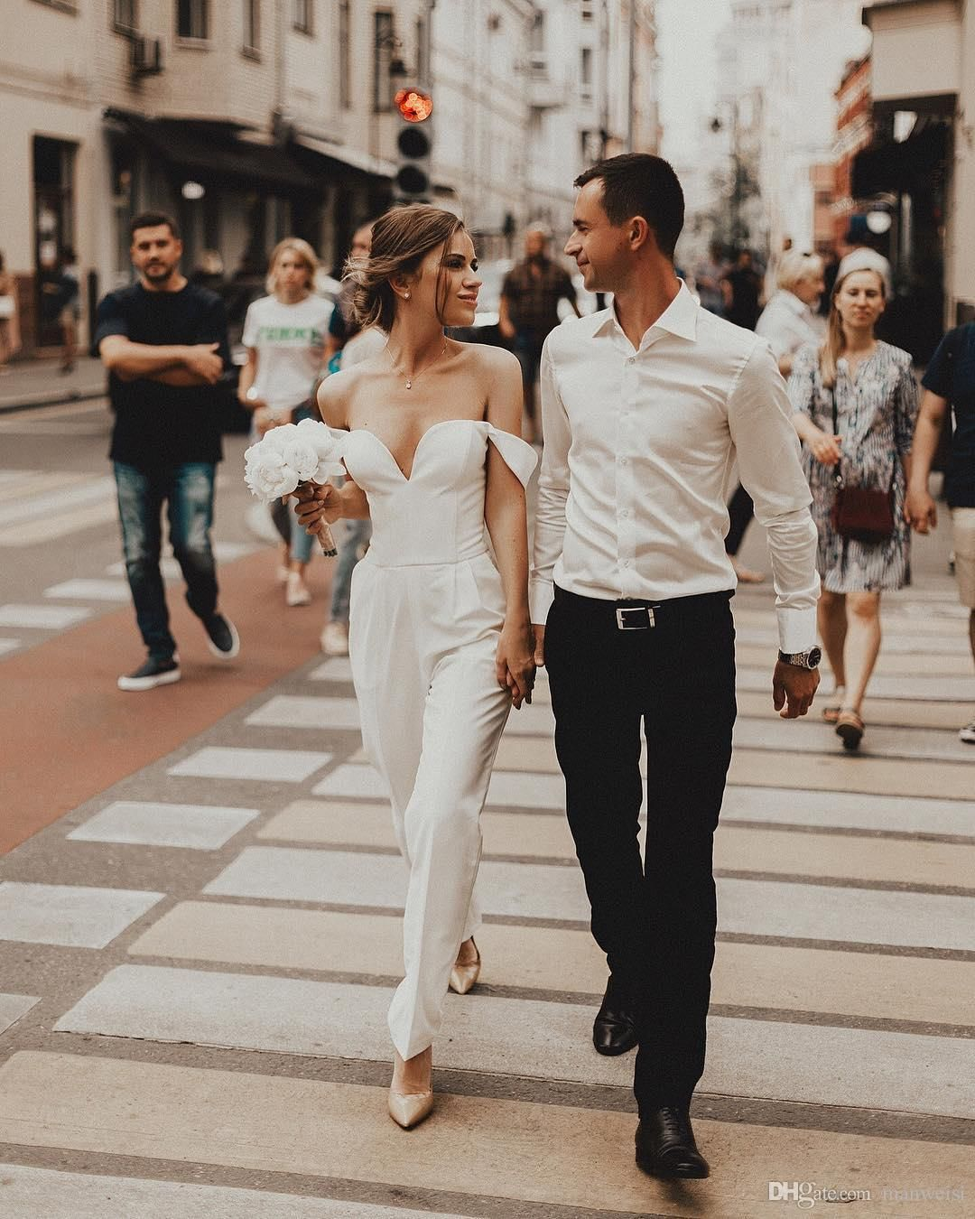 Beach Jumpsuits Wedding Dresses Off The Shoulder Country