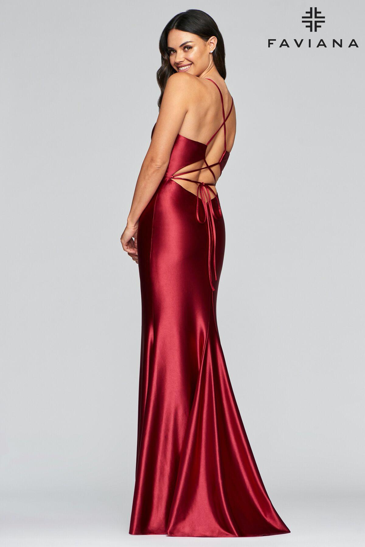 Faviana S 10409 Trumpet Dress Stretch Satin Stretch Satin Dress [ 1800 x 1200 Pixel ]