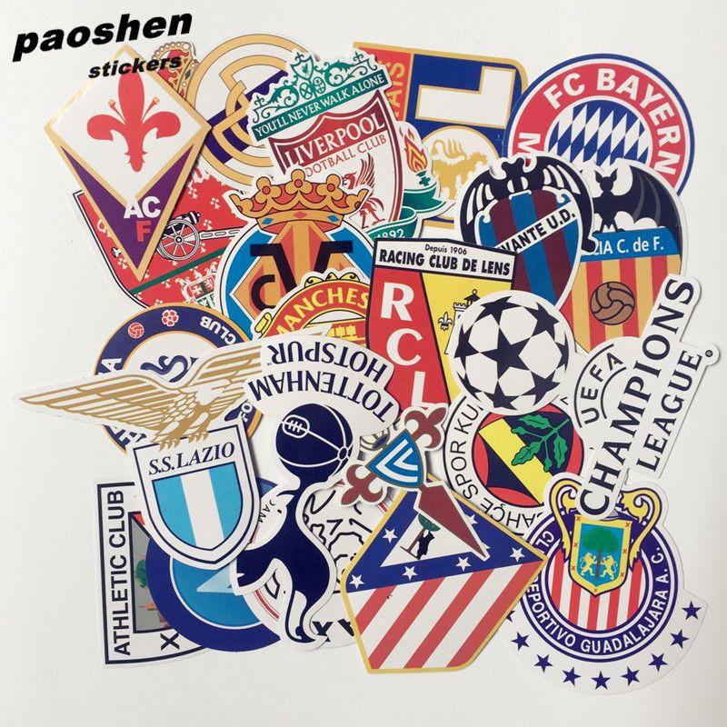 50pcs bag 2016 new style football club logo pvc sticker waterproof stickers fashion trunk laptop