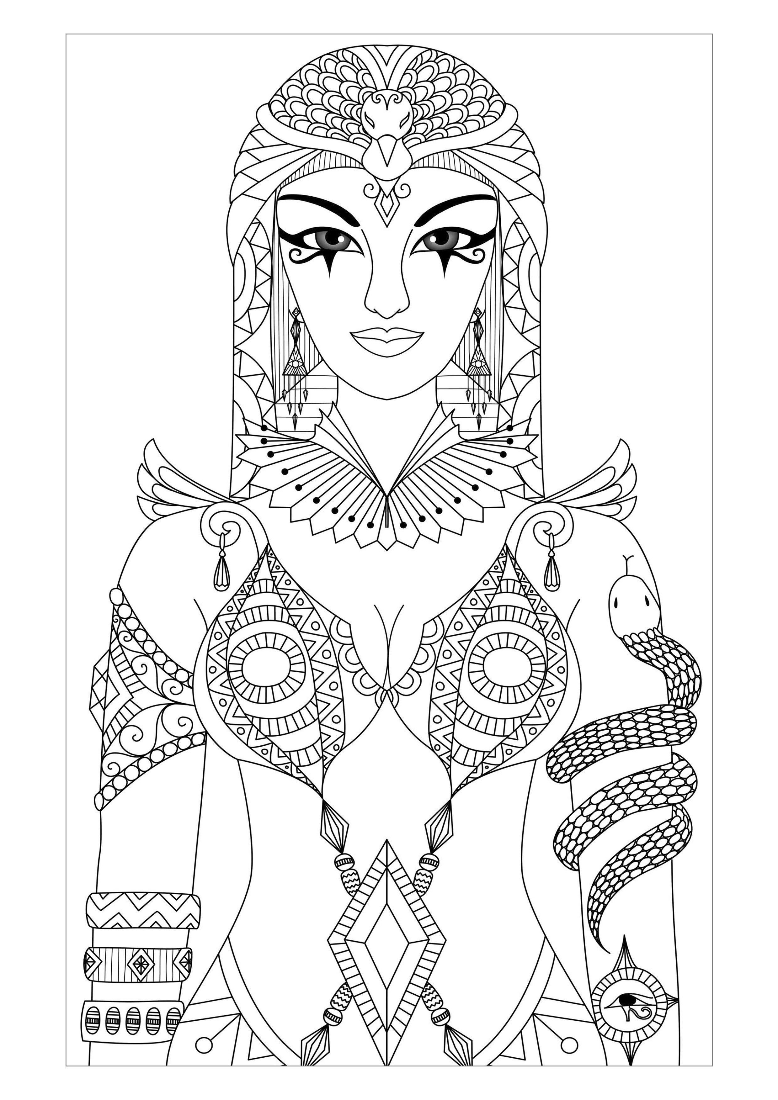 Galerie de coloriages gratuits coloriage adulte egypte cleopatre par bimdeedee Magnifique dessin de Cléop¢tre reine d égypte antique par Bimdeedee