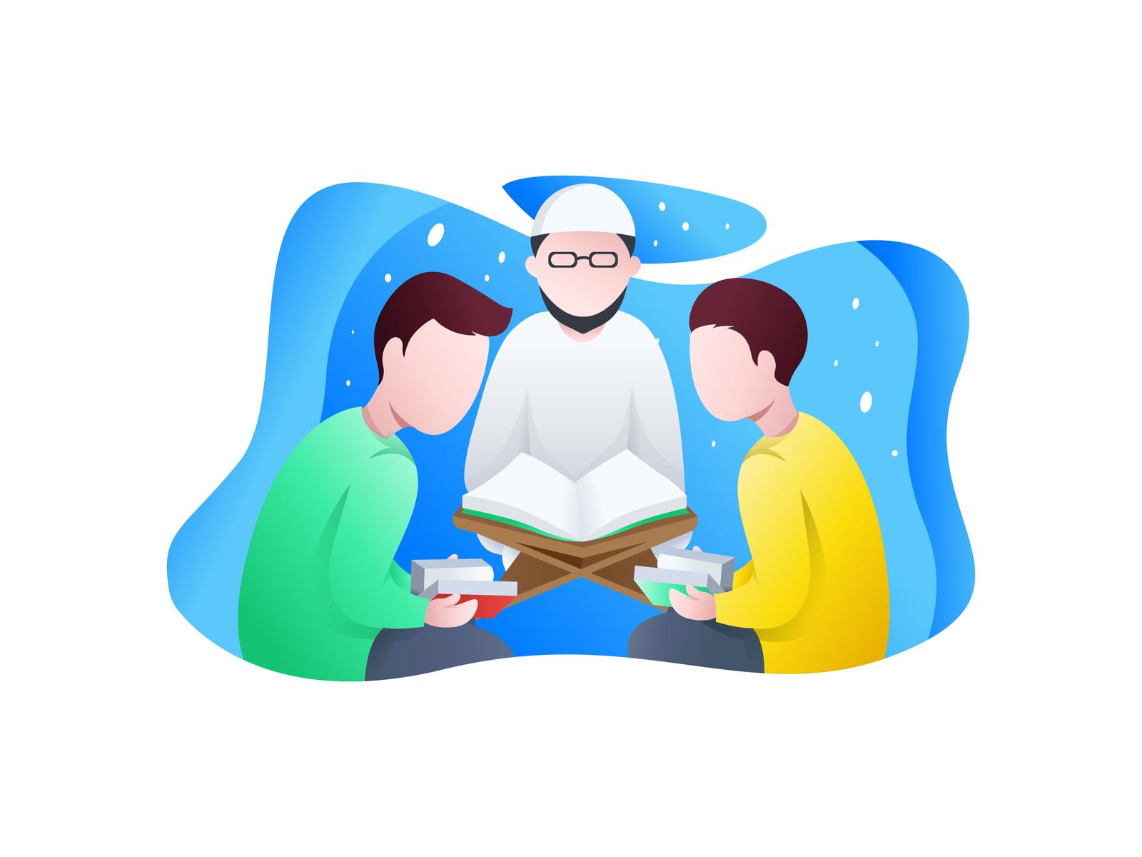 Child Reading Quran Illustration 65630775 - Megapixl