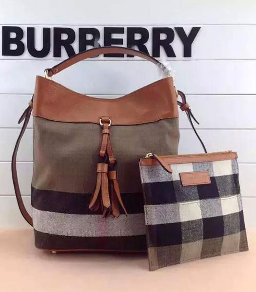b93af92c7809 Burberry Ashby In Canvas Check And Leather Medium Hobo Bags Saddle Brown   BU0034-03  -  176.00USD