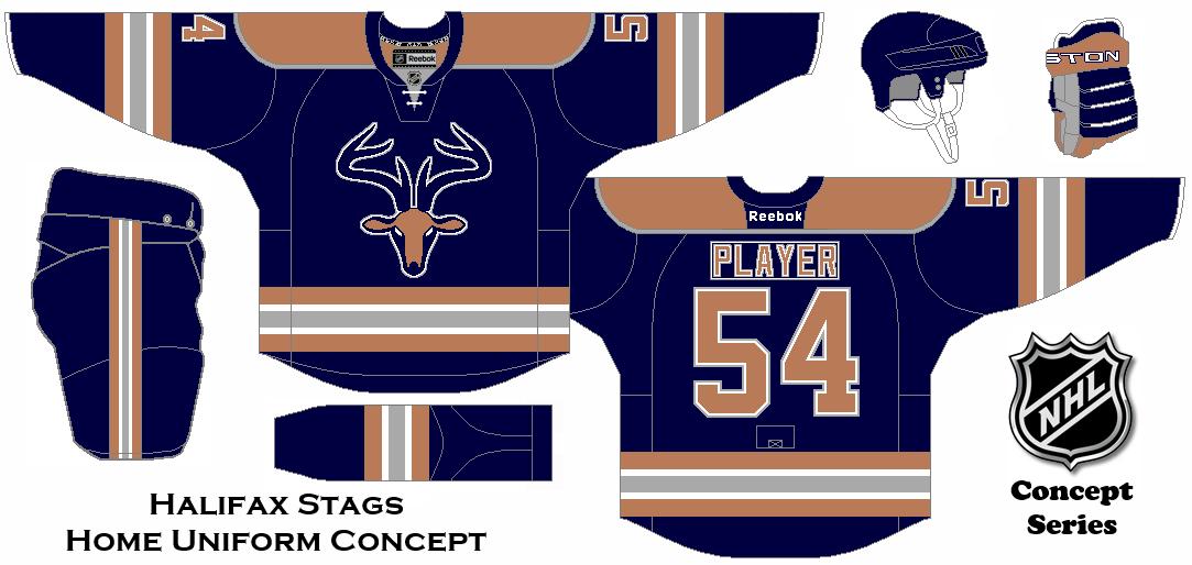 Nhl Expansion Series Concept Halifax Stags Home Uniform Hockey Logos Nhl Jerseys Hockey Jersey