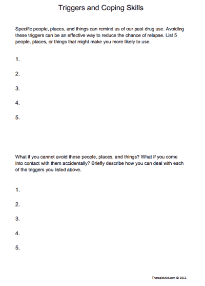 Triggers and Coping Skills ( Worksheet | mental health