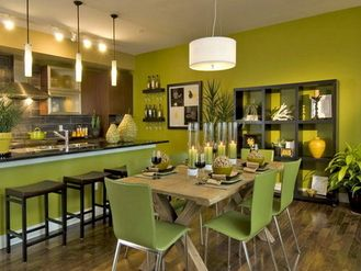 Green Paint Colors Interior Dining Room And Kitchen Design