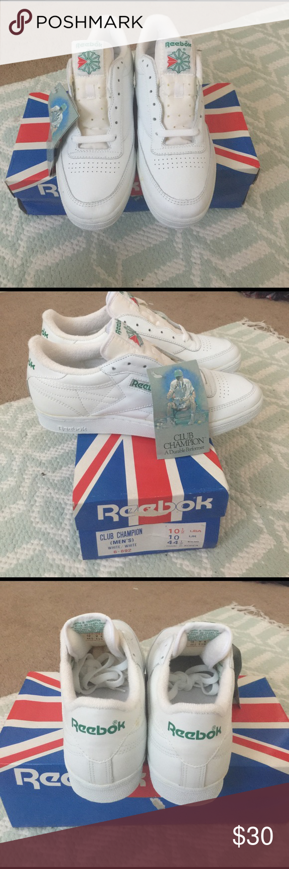 Vintage Reebok Club Champion Shoes Brand New Vintage Reebok Club Champions  Shoes White White Reebok Shoes Sneakers 1af9089f4a64