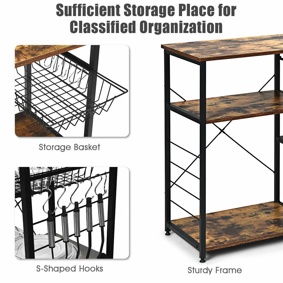 Industrial Kitchen Baker S Rack Microwave Shelf With 6 Hooks In