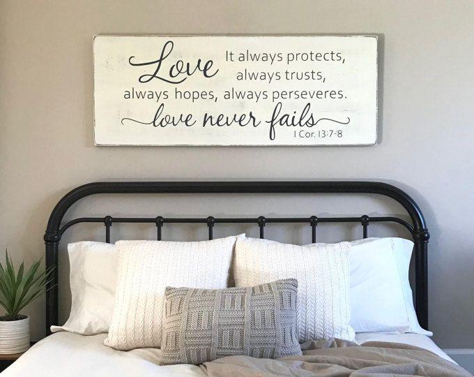 Inspirational Master bedroom wall decor Love never fails 1 Corinthians 13 wood sign - Best of wall decor bedroom Fresh