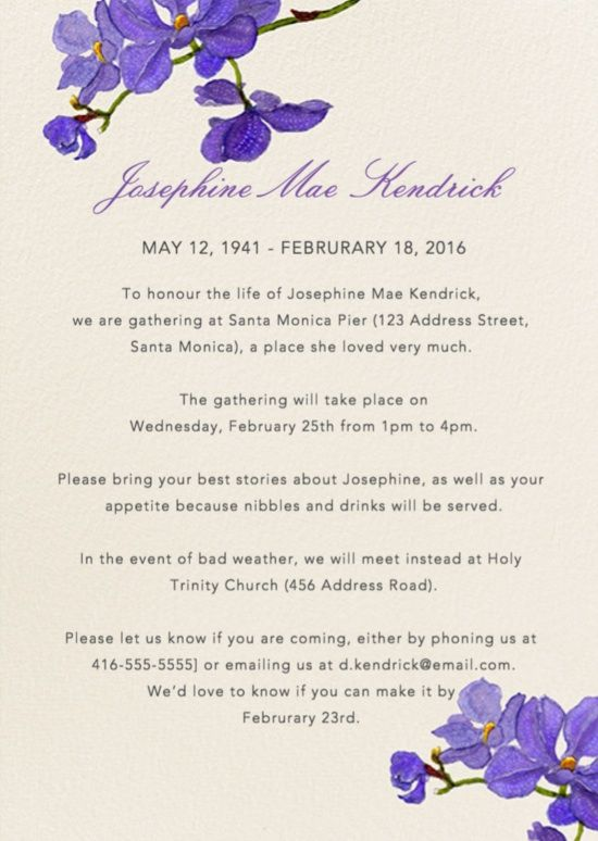 39 Best Funeral Reception Invitations | Teta Georgette ...