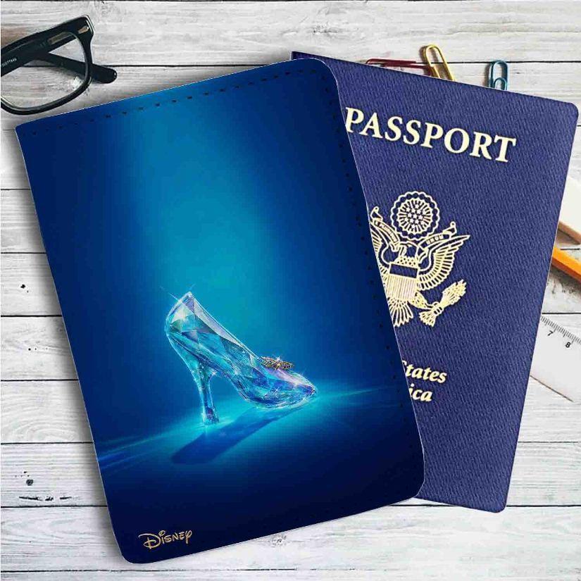 f5cf5636e Disney Cinderella Glass Shoes Leather Passport Wallet Case Cover ...