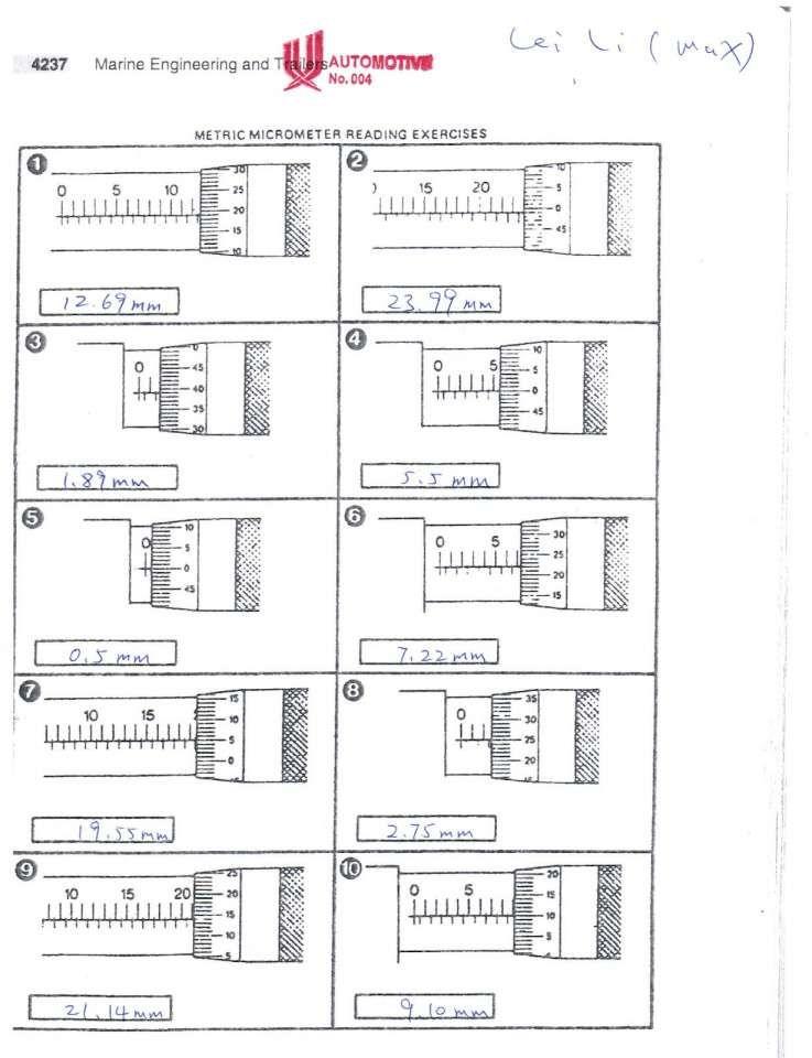 7+ Metric Micrometer Reading Worksheet Reading Reading