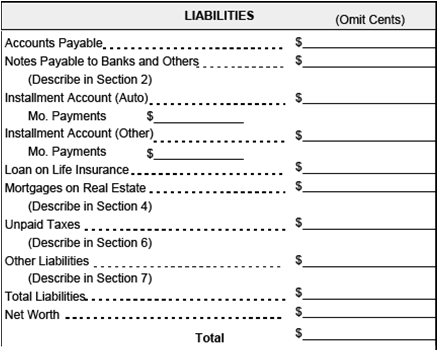 Personal ...  Asset And Liability Statement Template