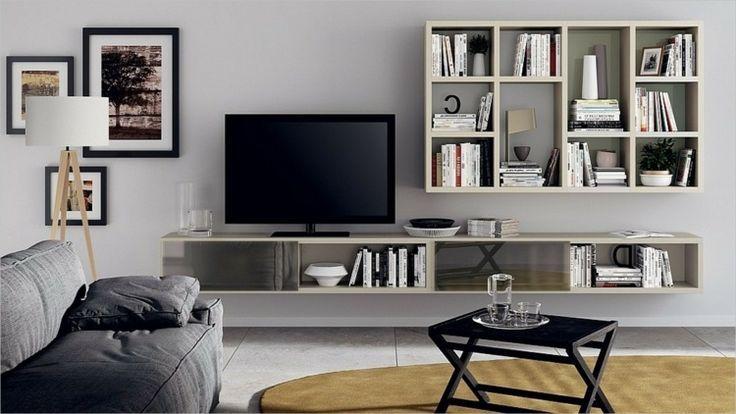 cool Déco Salon - rangement salon moderne, système mural en blanc et