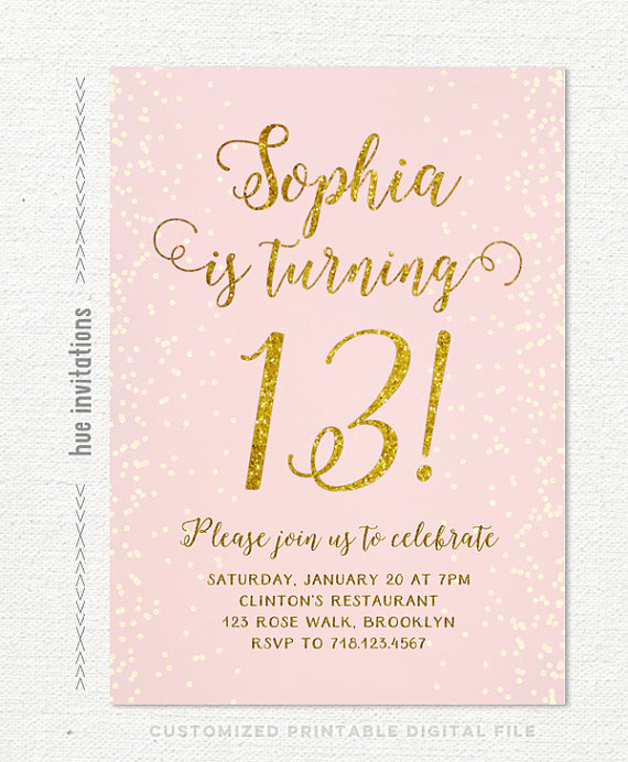13th Birthday Invitation For Girl Pink Gold Teen Party Invitations Blush Glitte