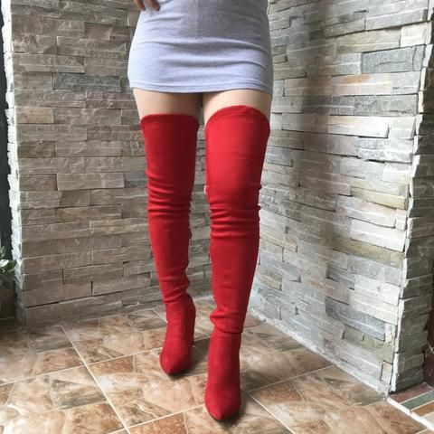 73249d89514 V Shape Thigh High Boots Womens Stretch Suede Over the Knee Boots Pointed  Toe Party Sexy