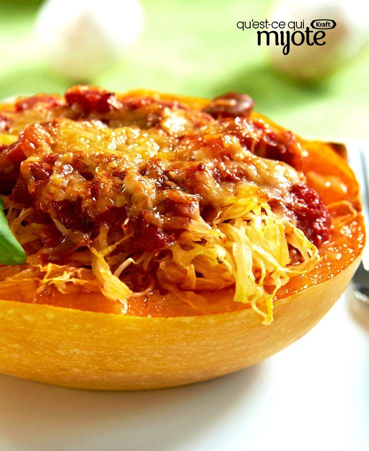 Courge spaghetti gratinée et sauce aux champignons #recette
