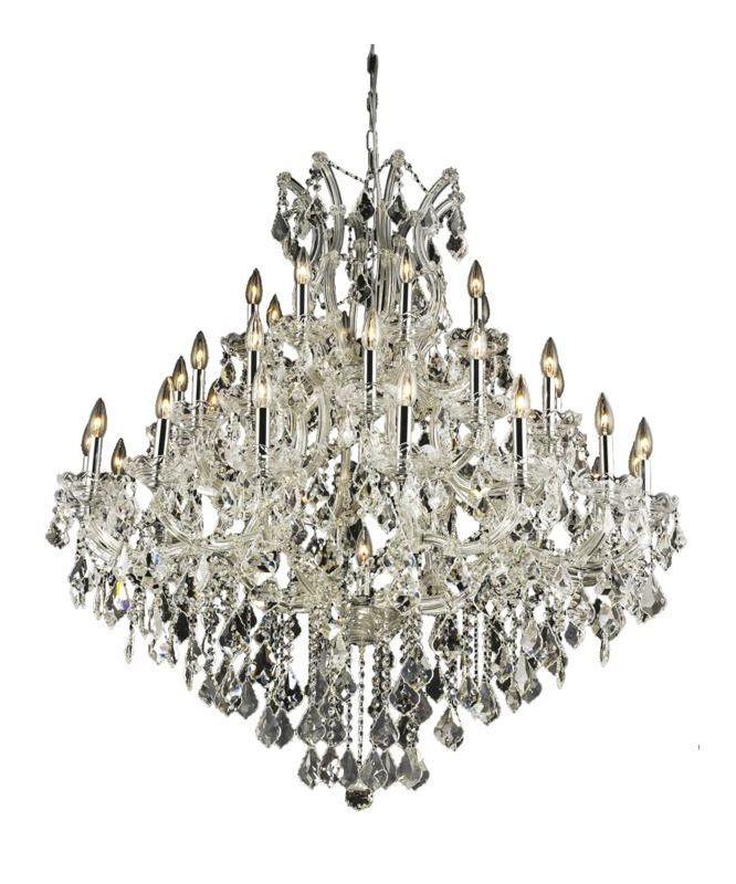 Elegant lighting 2800g44c maria theresa 37 light three tier crystal chandelier royal cut clear